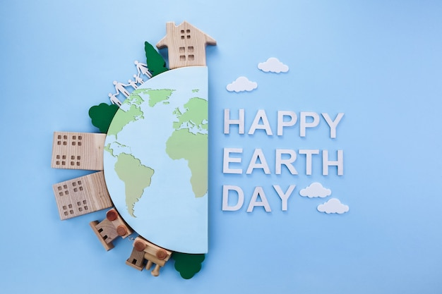 Jour de la terre dans un style moderne. protection de l'environnement, écologie. monde respectueux de l'environnement. moderne simple.