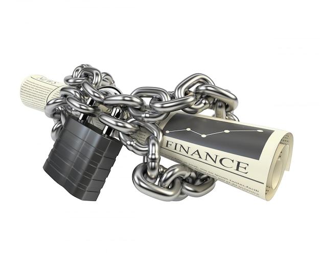 Journal enchaîné chaîne et cadenas, isolé sur fond blanc.