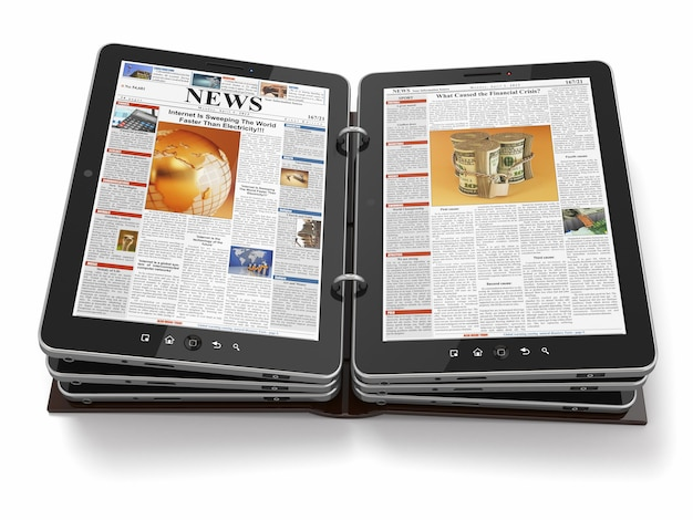 Journal ou magazine de tablet pc.