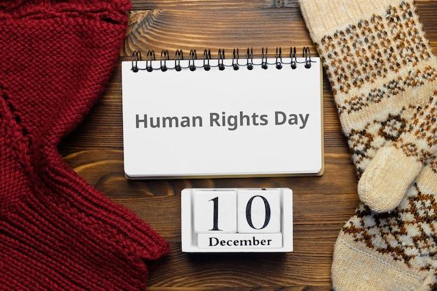 Journée des droits de l'homme du calendrier du mois d'hiver décembre.