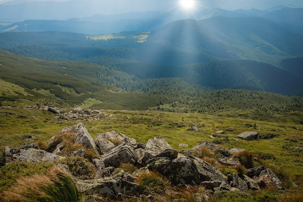 La journée ensoleillée du matin est dans le paysage de montagne
