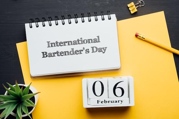Journée internationale du barman jour du calendrier du mois d'hiver février.