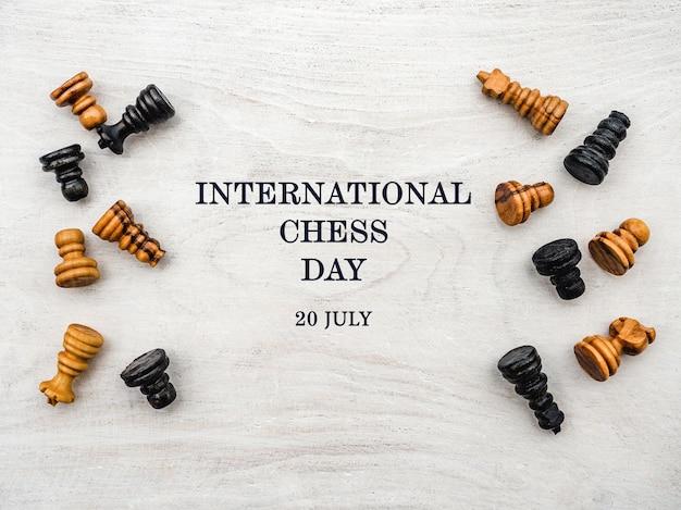 Journée internationale des échecs. belle carte.