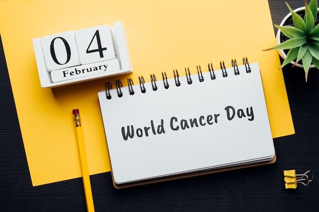 Journée mondiale du cancer du calendrier du mois d'hiver février.