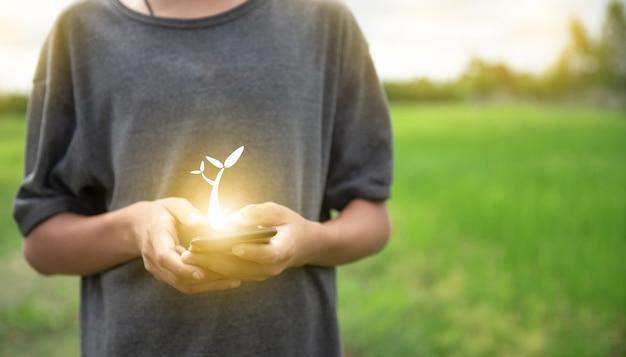 Journée mondiale de l'environnement fond vert et homme utilisent le téléphone pour rechercher un arbre sur le terrain de la nature forest