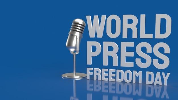 Journée mondiale de la liberté de la presse texte blanc avec microphne sur surface bleue