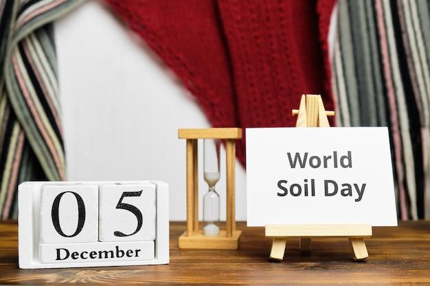 Journée mondiale des sols du calendrier du mois d'hiver décembre.