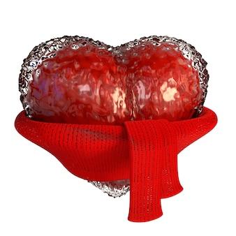 Joyau coeur rouge avec un foulard, isolé sur fond blanc.