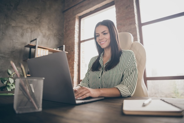 Joyeuse femme d'affaires tapant netbook au bureau