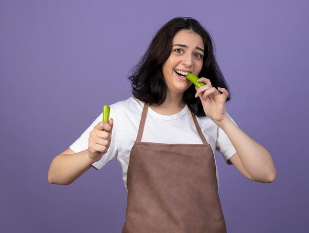 Joyeuse jeune femme brune jardinière en uniforme portant chapeau de jardinage mord la moitié de piment isolé sur mur violet