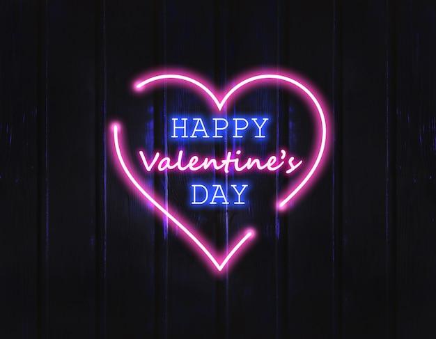 Joyeuse saint valentin. enseigne au néon avec des paillettes scintillantes