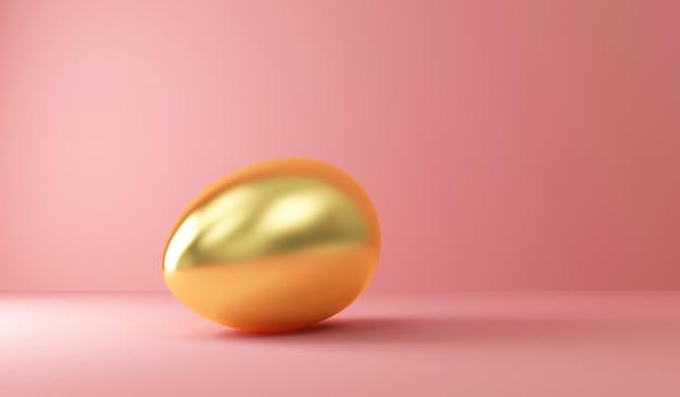 Joyeuses pâques concept big golden egg sur rose