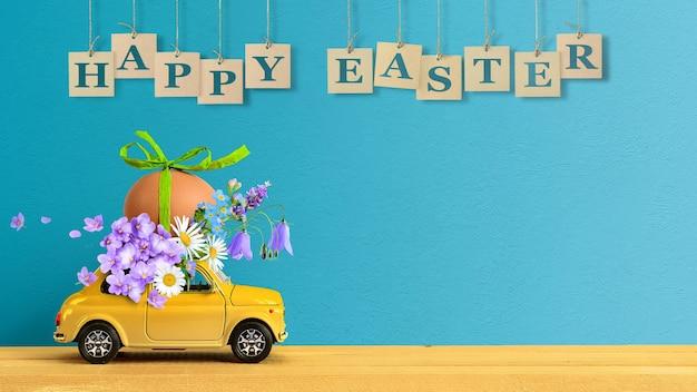 Joyeuses pâques concept. petite voiture rétro transportant un œuf de pâques et des fleurs sauvages sur le toit.