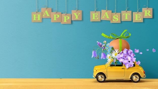 Joyeuses pâques concept. voiture jaune rétro portant un œuf de pâques et des fleurs sauvages sur le toit.