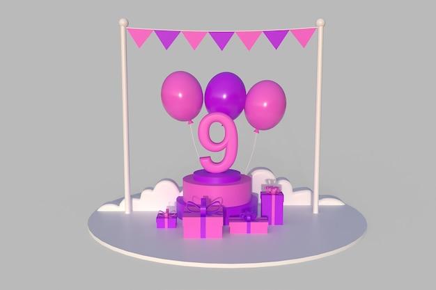 Joyeux 9e anniversaire avec des coffrets cadeaux, des ballons et autres décorations d'anniversaire. illustration de rendu 3d