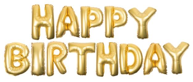 Joyeux anniversaire gonflable doré