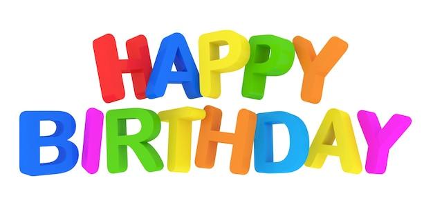 Joyeux anniversaire texte coloré isolé sur blanc