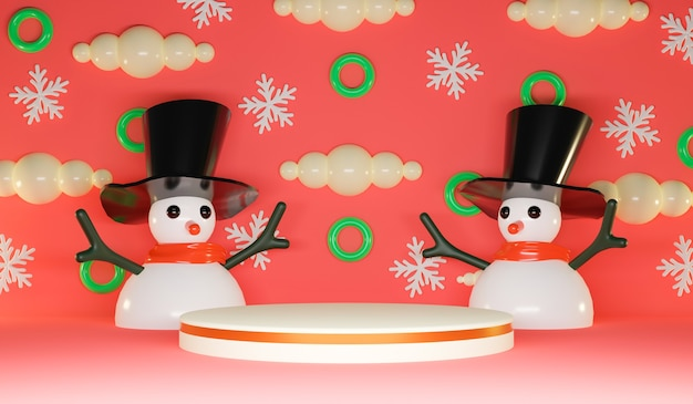 Joyeux fond de noël avec un joli bonhomme de neige et un podium d'affichage en cercle. rendu 3d