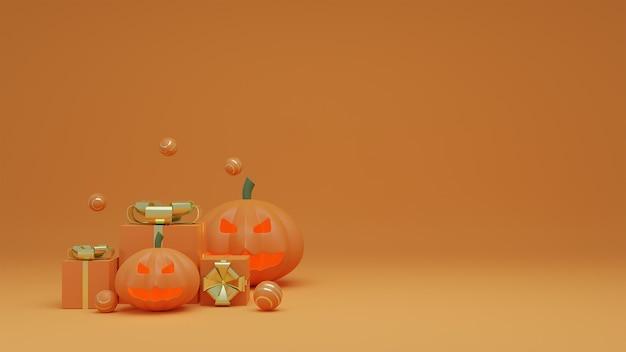 Joyeux halloween avec fantôme de citrouille et boîte-cadeau fond de ton orange.