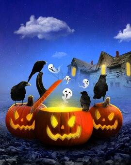 Joyeux halloween la nuit avec un corbeau noir sur le dessus carte joyeux halloween avec des citrouilles