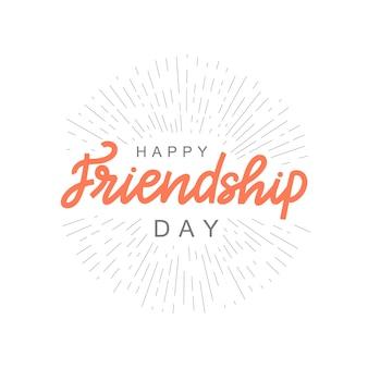 Joyeux jour de l'amitié lettrage citation brosse calligraphie typographie manuscrite de la journée de l'amitié