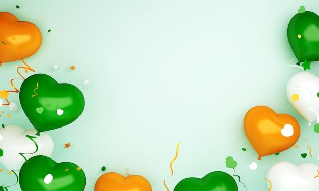 Joyeux jour de l'indépendance de l'inde ou de l'irlande décoration fond avec espace de copie de ballon en forme de coeur