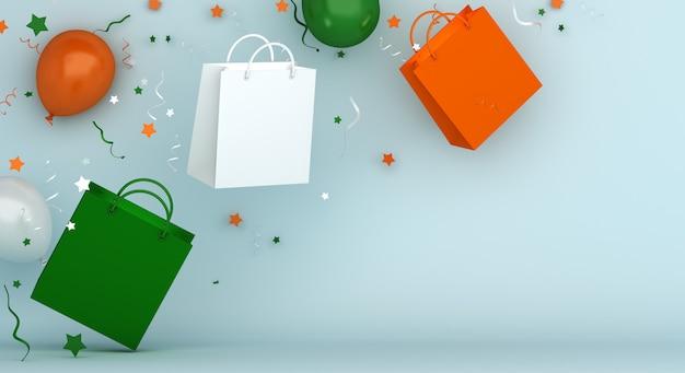 Joyeux jour de l'indépendance de l'inde vente décoration fond avec sac à provisions et ballon