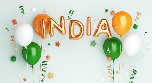 Joyeux jour de la république de l'inde ou fond de décoration de fête de l'indépendance avec ballon et texte