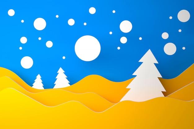 Joyeux noël bleu-jaune-blanc et concept matériel bonne année - illustration 3d
