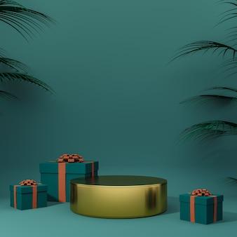 Joyeux noël et bonne année arrière-plan et podium avec rendu 3d de la boîte-cadeau