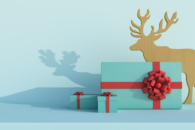 Joyeux noël et bonne année arrière-plan et sol uni avec rendu 3d de la boîte-cadeau