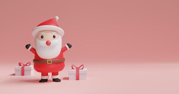 Joyeux noël et bonne année, bannière de noël. avec le rendu mignon de la clause 3 d de santa.