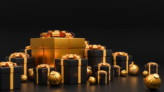 Joyeux noël et bonne année bannière style de luxe., boîte de cadeaux réaliste or et noir avec des boules de noël dorées