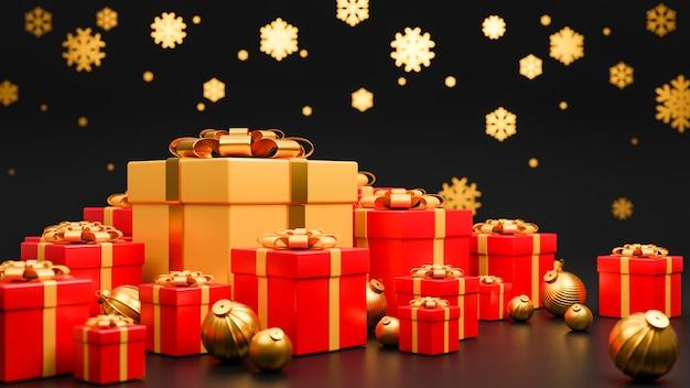 Joyeux noël et bonne année bannière style de luxe., boîte de cadeaux rouge et or réaliste avec des boules de noël dorées