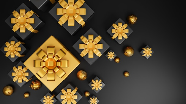 Joyeux noël et bonne année bannière style de luxe.