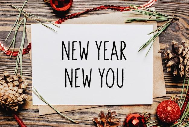 Joyeux noël et bonne année cahier de concept avec texte nouvel an nouveau vous