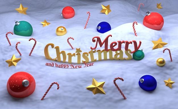 Joyeux noël et bonne année carte de voeux avec des boules de noël et des étoiles d'or