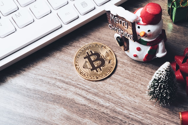 Joyeux noël et bonne année cryptomonnaie bitcoin