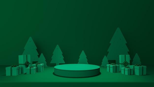Joyeux noël et bonne année avec décoration de fond pour le rendu 3d du produit publicitaire