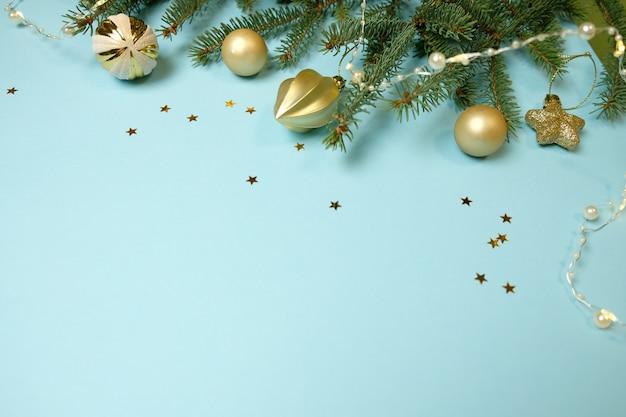 Joyeux noel et bonne année. fond bleu