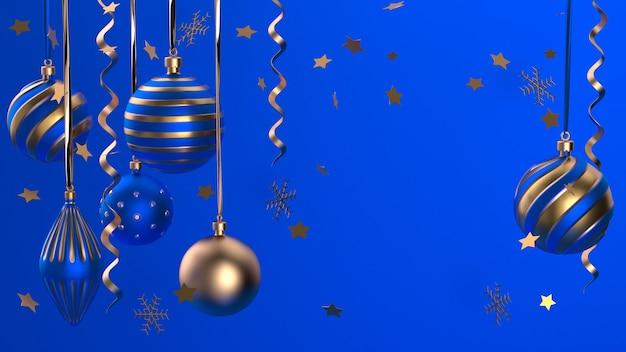 Joyeux noel et bonne année. fond de fête de noël avec des objets réalistes. éléments de vacances, rendu 3d et réalisme. carte de voeux, bannière, affiche web.