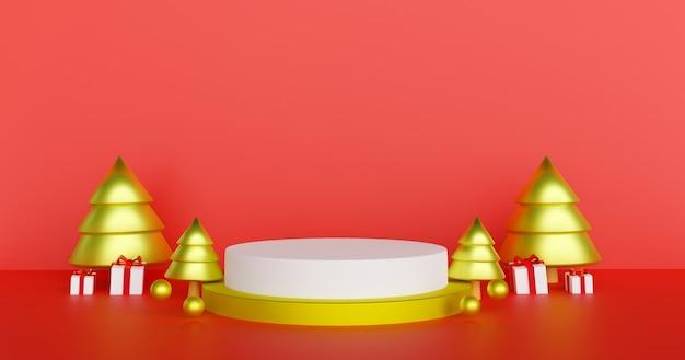 Joyeux noël et bonne année, fond de noël avec podium pour un rendu 3d de produit.