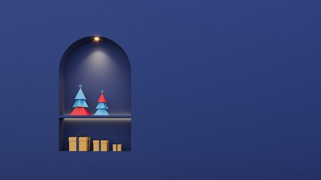 Joyeux noël et bonne année mur bleu de fond avec le rendu 3d de boîte-cadeau