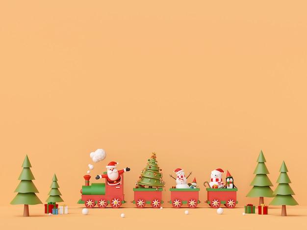 Joyeux noël et bonne année, père noël et bonhomme de neige dans le train de noël avec des cadeaux avec copie espace, rendu 3d