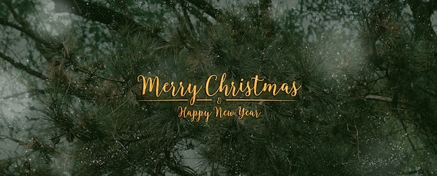 Joyeux noël et bonne année texte de paillettes typo sur pin vert