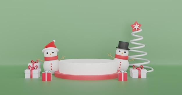 Joyeux noël, fêtes de noël avec bonhomme de neige et podium pour un produit. .