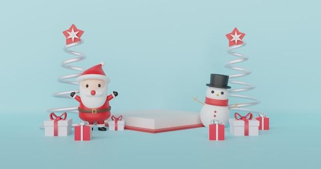 Joyeux noël, fêtes de noël avec clause santa et bonhomme de neige avec podium pour un produit. .