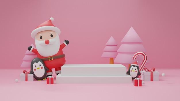 Joyeux noël, fêtes de noël avec clause santa, pingouin, bonhomme de neige pour carte de noël