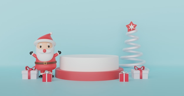 Joyeux noël, fêtes de noël avec clause santa et podium pour un produit. .