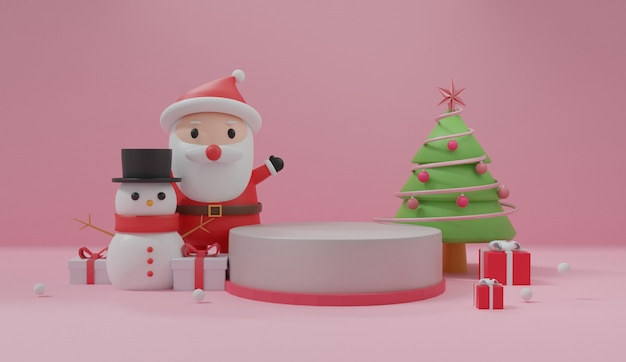 Joyeux noël, fêtes de noël avec le père noël, bonhomme de neige pour carte de noël
